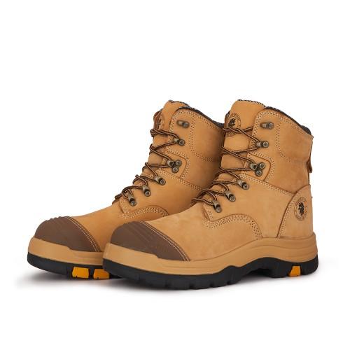 ROCKROOSTER Men's Steel Toe Work Boots Wheat Slip Resistant