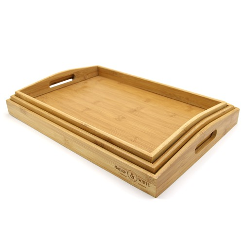 MandW Set Of 3 Bamboo Serving Trays