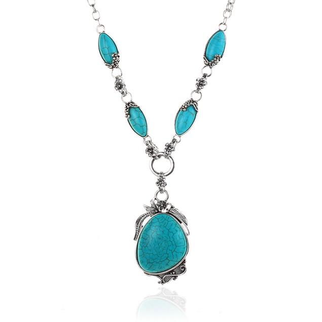 Novadab Antique Silver Tibet Turquoise Necklace