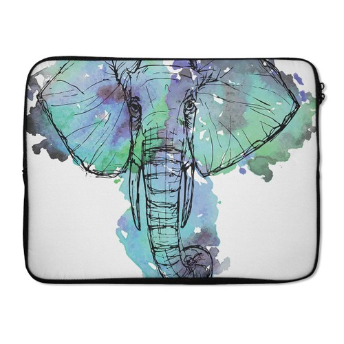 "EmbraceCase 17"" Ink-Fuzed Laptop Sleeve - African Sketch Elephant"