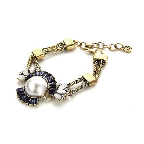 Novadab Blue & White Sleek Statement Bracelet for women, Women Bracelet