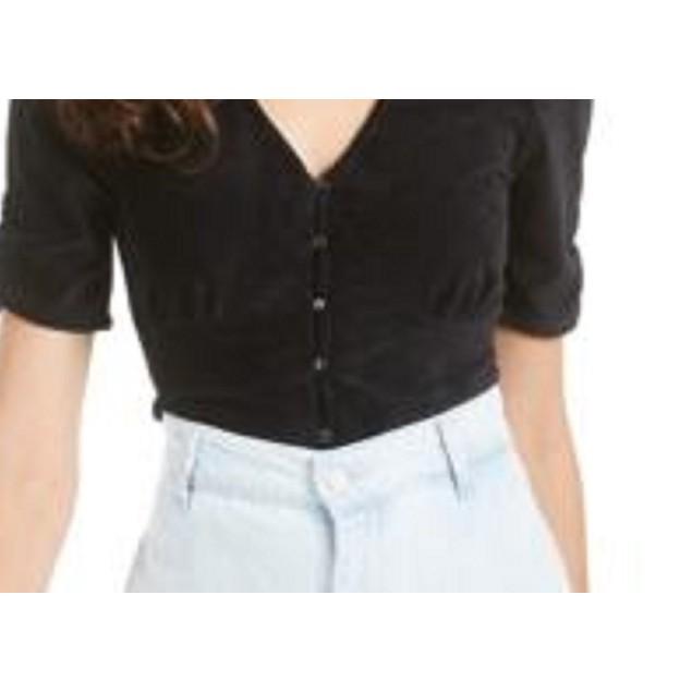 American Rag Juniors' Ruched-Sleeve Rib-Knit Velvet Top Black Size XS