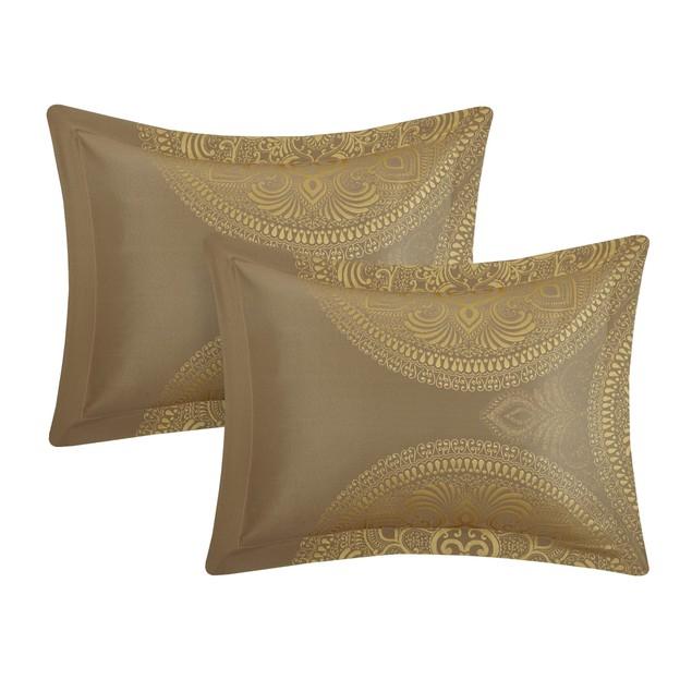 Chic Home 9 Piece Priya Faux Silk Large Medallion Jacquard Comforter Set