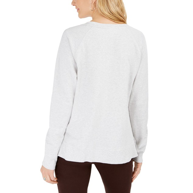 Style & Co Women's Cotton Graphic Sweatshirt Gray Size X-Large