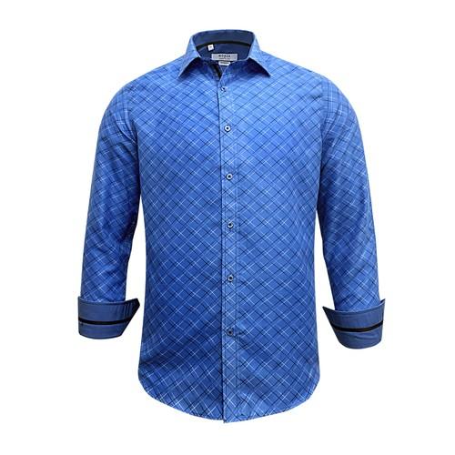 Monza Modern Fit Long Sleeve Blue Checkered Stripe Dress Shirt