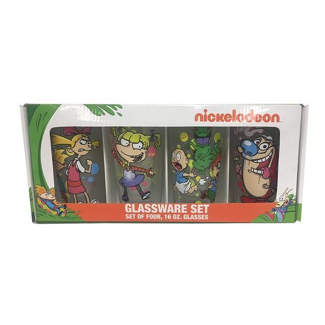 90s Nicktoons Spray Paint 4-Pack 16oz Pub Pint Glass Set