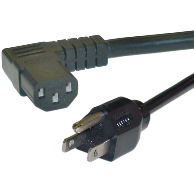 Right Angle Computer/Monitor Power Cord, 25 foot