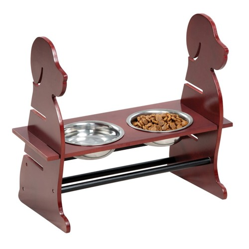 Wood Adjustable High Dog Feeder Pet Feeder W/ 2 Stainless Steel Bowls
