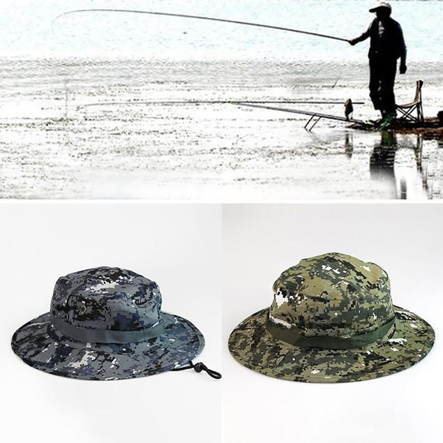 Unisex Wide Brim Camouflage Fishing Bucket Boonie Sun Hat