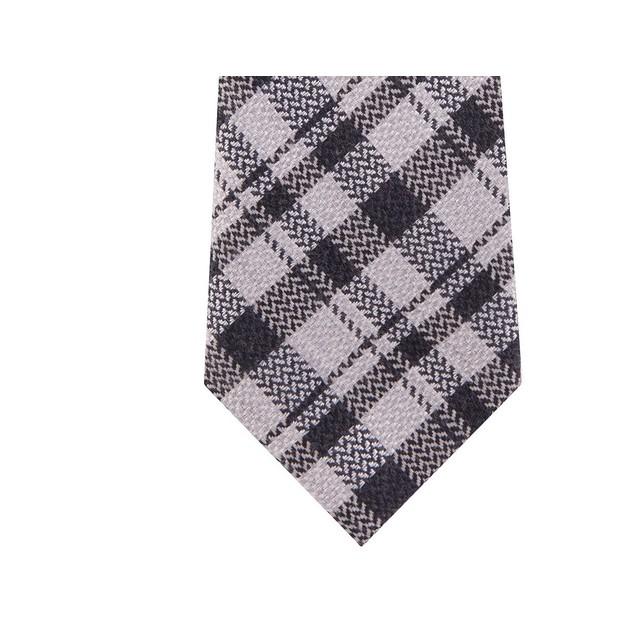 Michael Kors Men's Classic Textured Plaid Tie Black Size Regular
