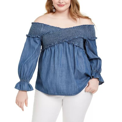 INC International Concepts Women's Shirred Bell Sleeve Top Blue Size 3X