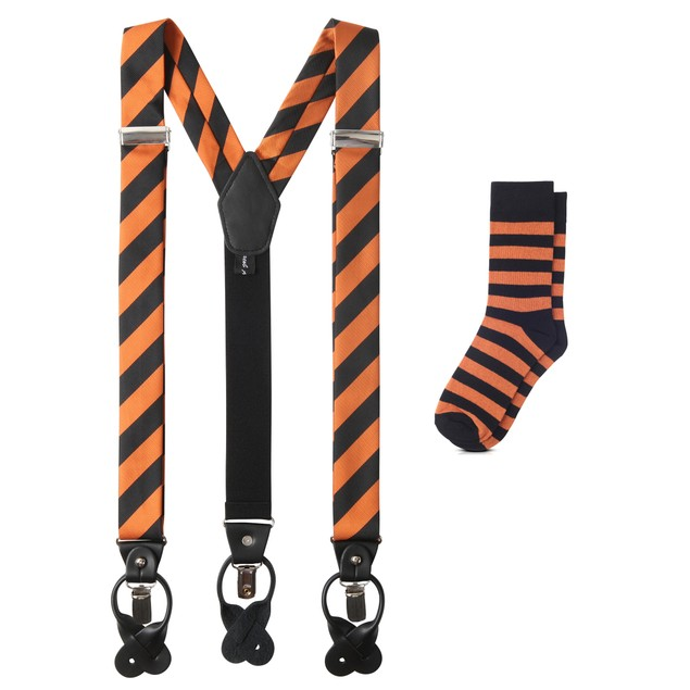 Jacob Alexander Matching College Stripe Suspenders and Dress Socks