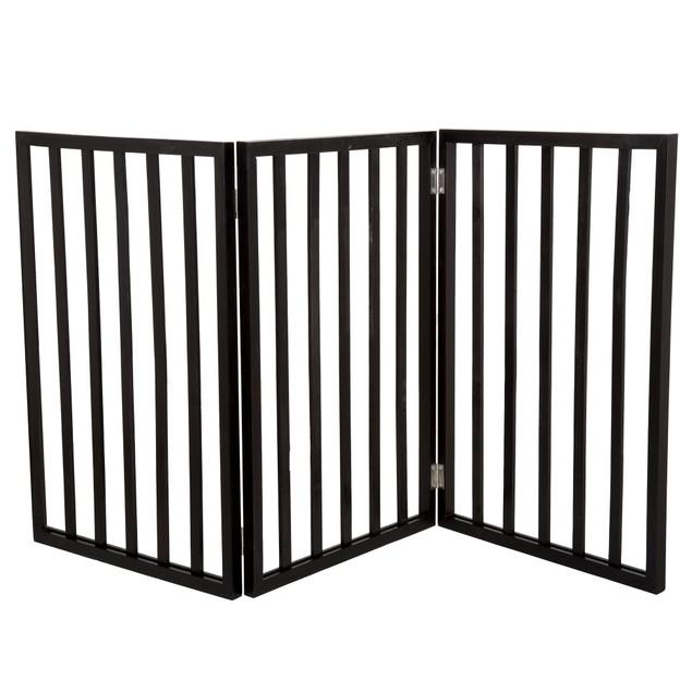 PETMAKER Freestanding Wooden Pet Gate - Dark Brown