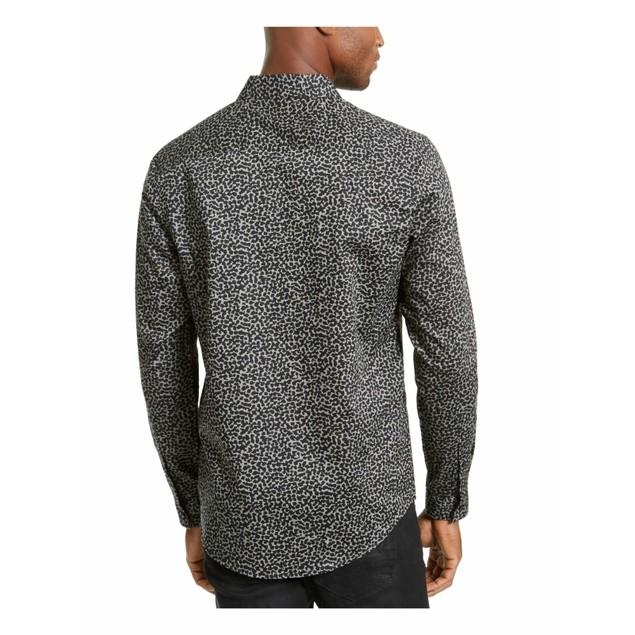 INC International Concepts Animal Print Shirt Black 2 Extra Large