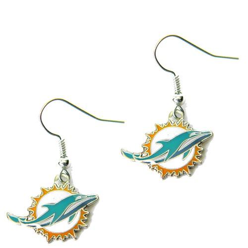 Miami Dolphins J Hook Dangle Logo Earring Set Charm Gift NFL