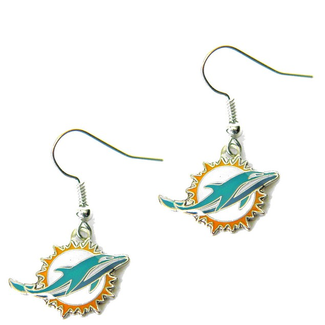 Miami Dolphins J Hook Dangle Logo Earring Set Charm Gift NFL