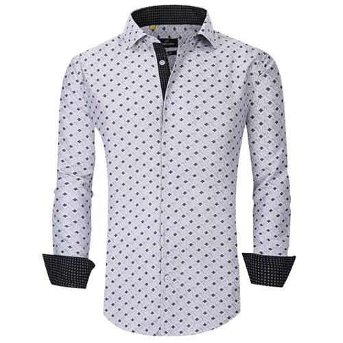 Suslo Couture Men's Printed Party Fashion Long Sleeve Button Down Shirt
