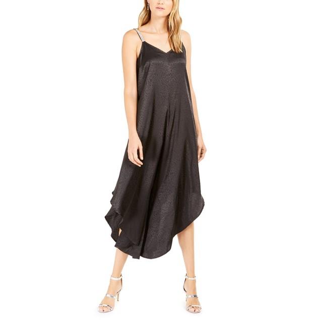 MSK Women's Tonal Animal-Print Jacquard Genie Jumpsuit Black Size Large