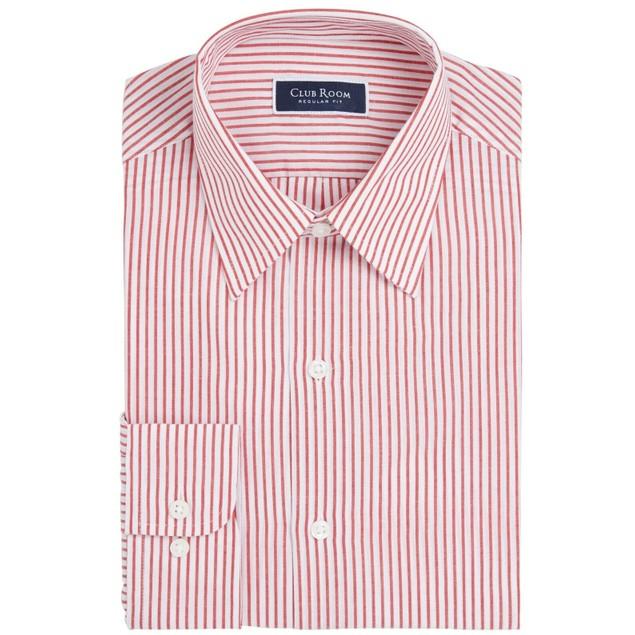 Club Room Men's Classic/Regular-Fit Stripe Dress Shirt Red Size 32-33