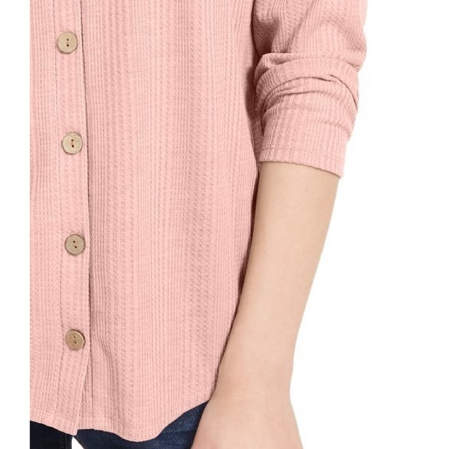 Pink Rose Hippie Rose Juniors' Tie-Front Button-Up Top Pink Size Small