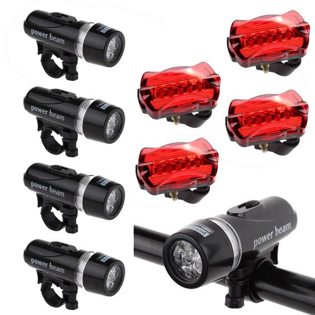 4 x Waterproof Lamp Bike Front 5 LED Head Light + Rear Safety Flashligh