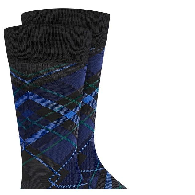Perry Ellis Men's Microfiber Plaid Socks Black Size Regular