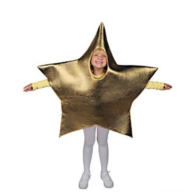 Metallic Fabric Star Child Costume Gold Nativity Scene Christmas Youth Kids