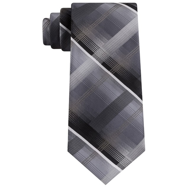 Van Heusen Men's Dean Classic Plaid Tie Black Size Regular