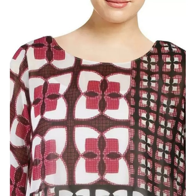 Alfani Women's Printed Angel-Sleeve Bubble-Hem Blouse Multi Size Small