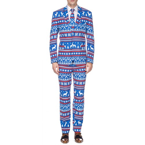 Braveman Men's Classic Fit Ugly Christmas Suits with Matching Tie
