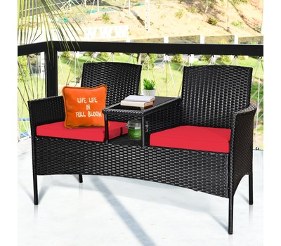 Costway Patio Rattan Conversation Set Seat with Glass Table Was: $369.99 Now: $209.99.
