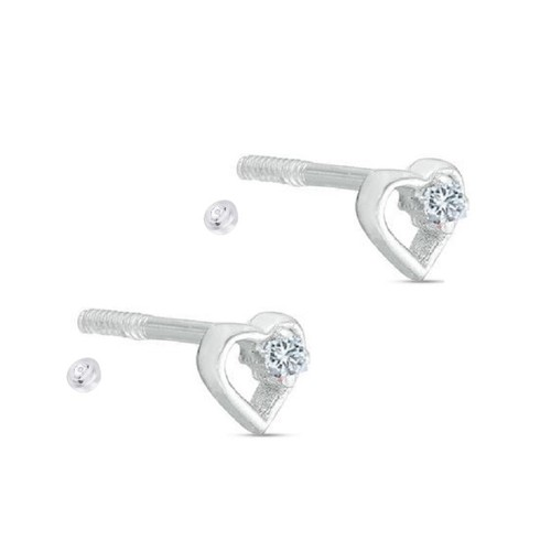 Sterling Silver Cubic Zirconia Open Heart Outline Screw-Back Stud Earrings