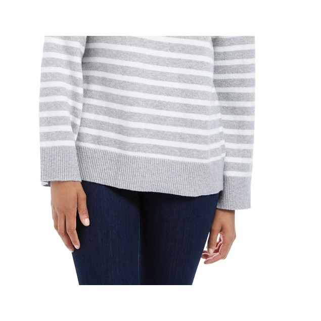 Charter Club Women's Striped Mockneck Sweater Med Gray Size Medium