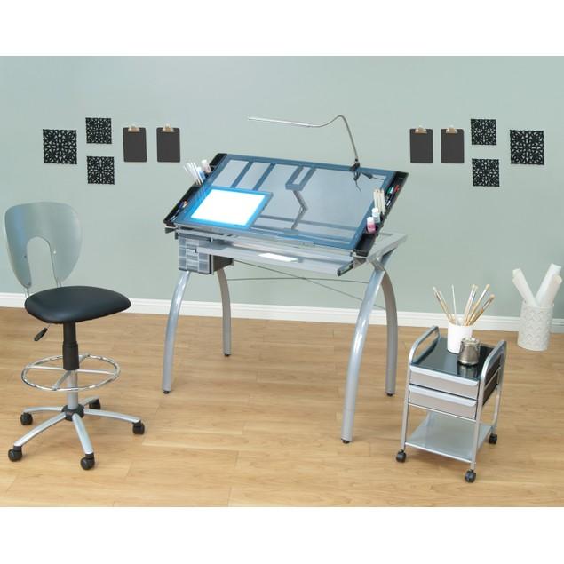 Studio Designs Blue Tempered Glass Top Futura Craft Station