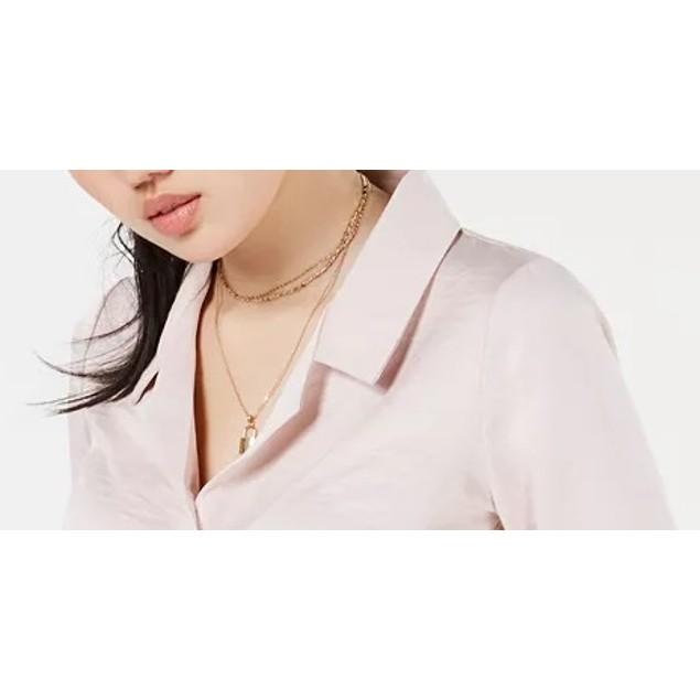 Love, Fire Juniors' Button-Front Tie-Hem Shirt Pink Size Medium