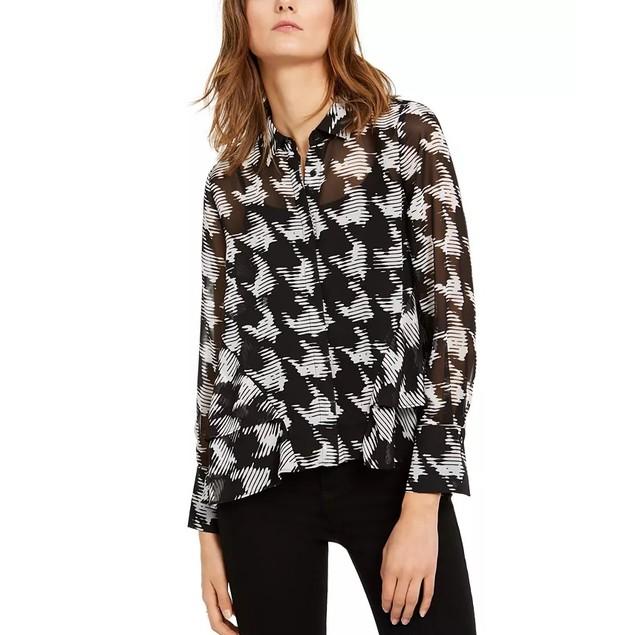 INC International Concepts Women's Houndstooth Shirt Black Size Medium