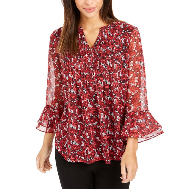 Charter Club Women's Floral-Print Bell-Sleeve Top Red Size Small