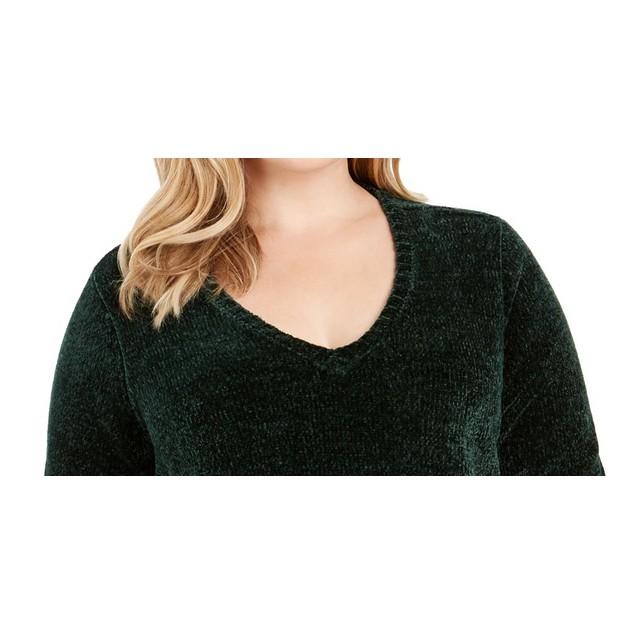 Karen Scott Women's V Neck Chenille Sweater Dark Green Size 1X