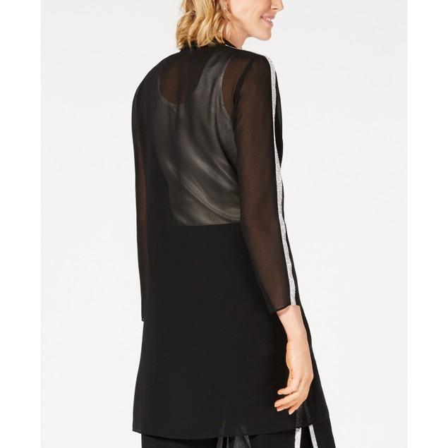 28th & Park Women's Rhinestone-Trim Open-Front Jacket Black Size Large