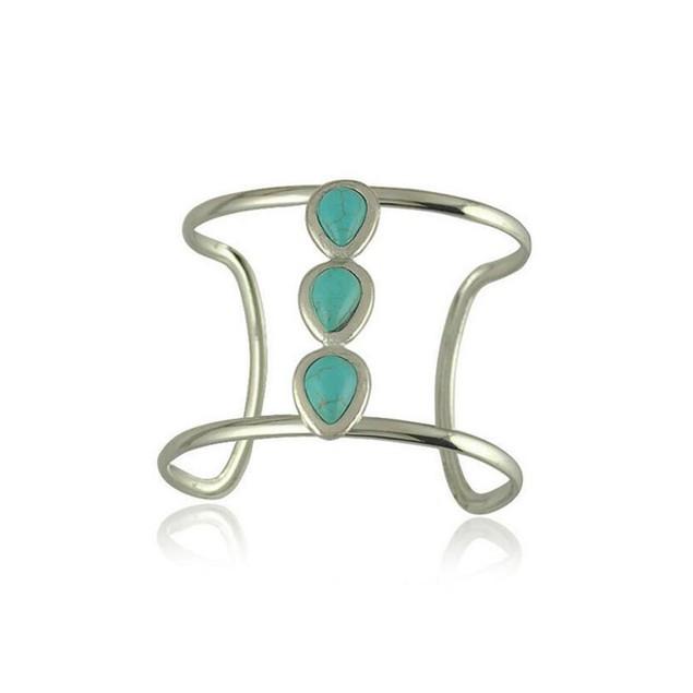 Novadab Contemporary floral triplet gemstone studded bracelet