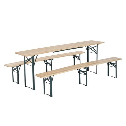 3PC Folding Beer Table Bench Set Outdoor Garden Wooden Top Picnic Table