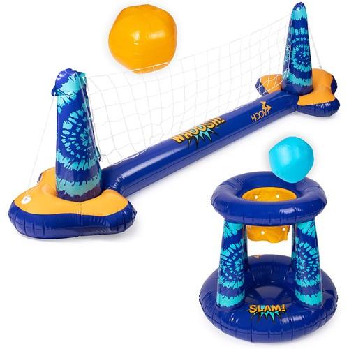 Inflatable Pool Float Volleyball Net & Basketball Hoop