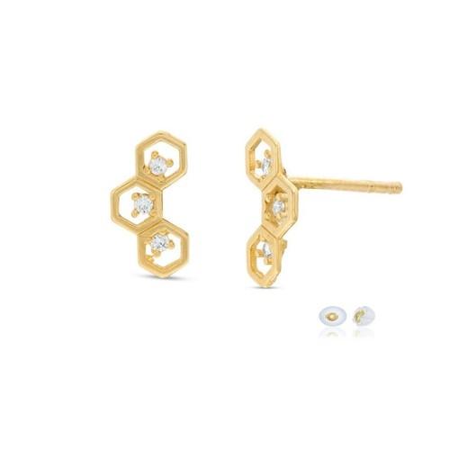 10K Solid Yellow Gold 3 Cubic Zircon Hexagon Crawlers Stud Earring