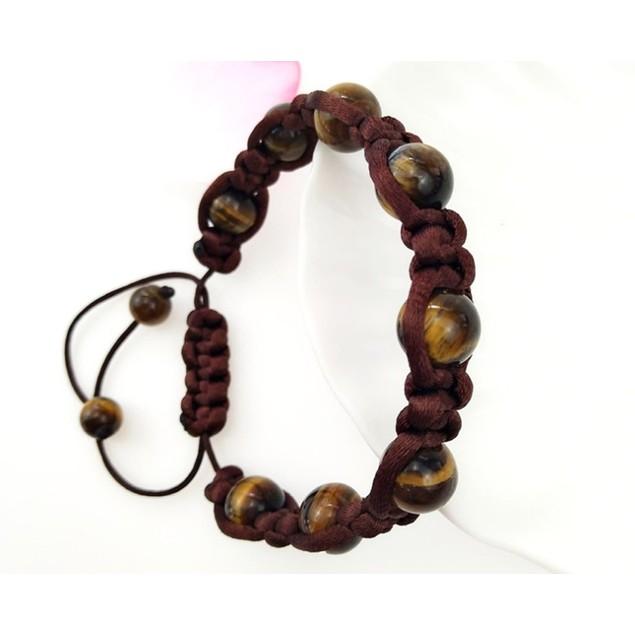 Novadab Adjustable contrasting Size Brown Beaded Bracelet