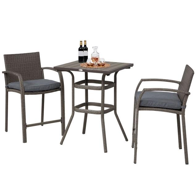 3Pc Rattan Wicker Bistro Set Patio Bar Table Chair Stool Garden