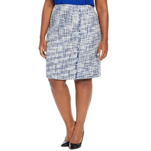 Calvin Klein Women's Tweed Fringe-Trim Pencil Skirt Blue Size 14