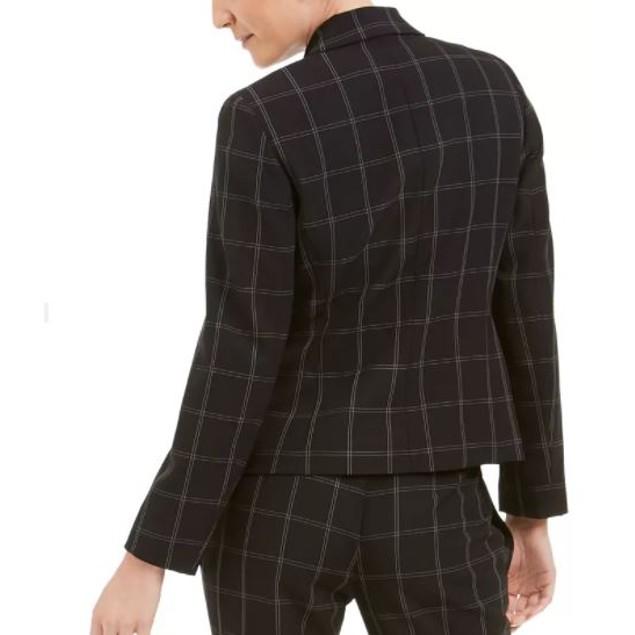 Kasper Women's Windowpane Plaid One Button Blazer Charcoal Size 8