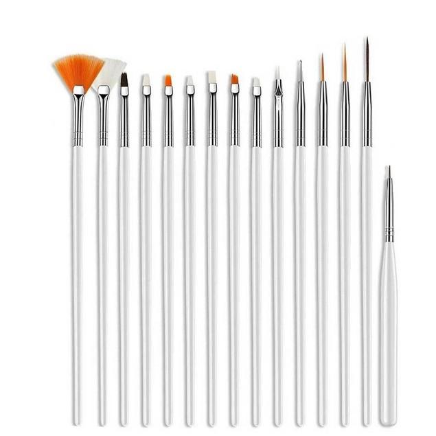20 Pcs Nail Art Gel Design Pen Painting Polish Brush Dotting Drawing Tools Set