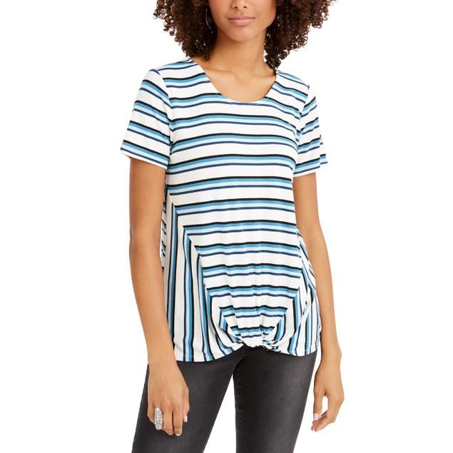 Style & Co Women's Striped Twist-Front Top Dark Blue Size Medium