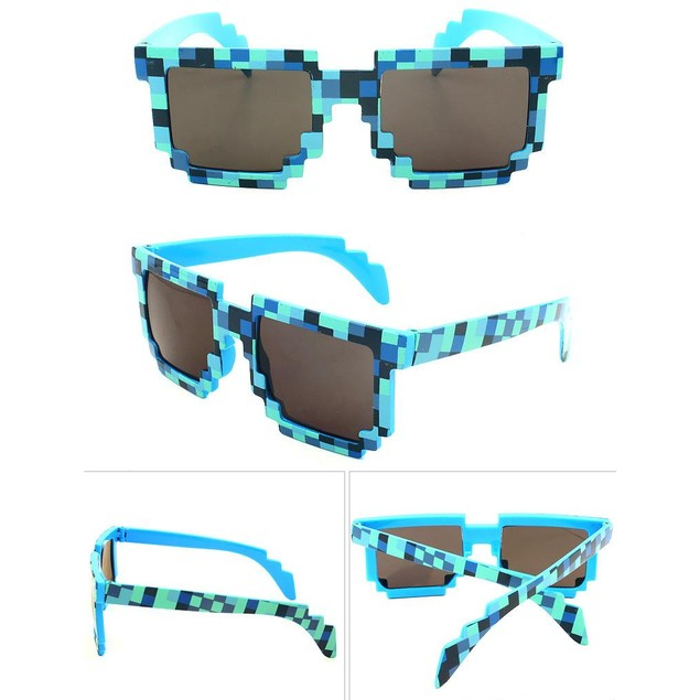8-Bit Pixelated Blue Sunglasses Geek Gamer Square Retro Nerd 90's Adult